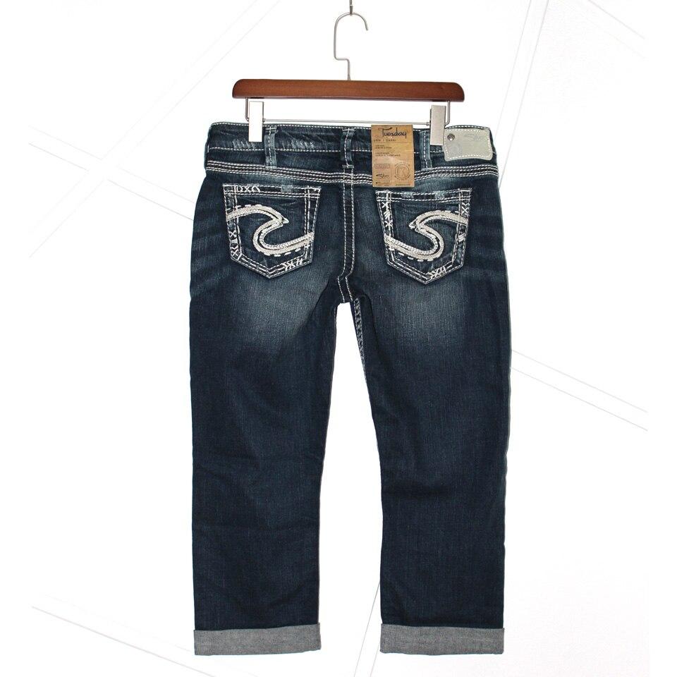 fbe694d5 100% Original Brand Silver Jeans Short Women Shorts Jean Tuesday & Suki  women's Capris flip Famous Designer Woman Blue Pants-in Jeans from Women's  Clothing ...