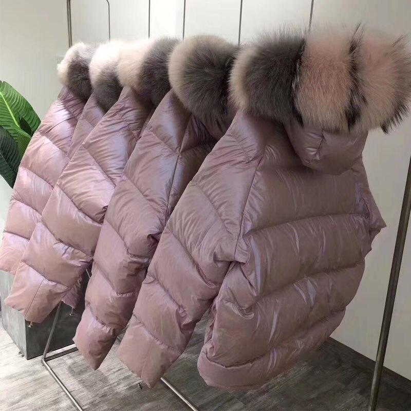 US $54.28 67% OFF Płaszcz z prawdziwego futra naturalne futro z lisa kołnierz 2019 kurtka zimowa kobiety luźna krótka dół płaszcz biała kurtka puchowa