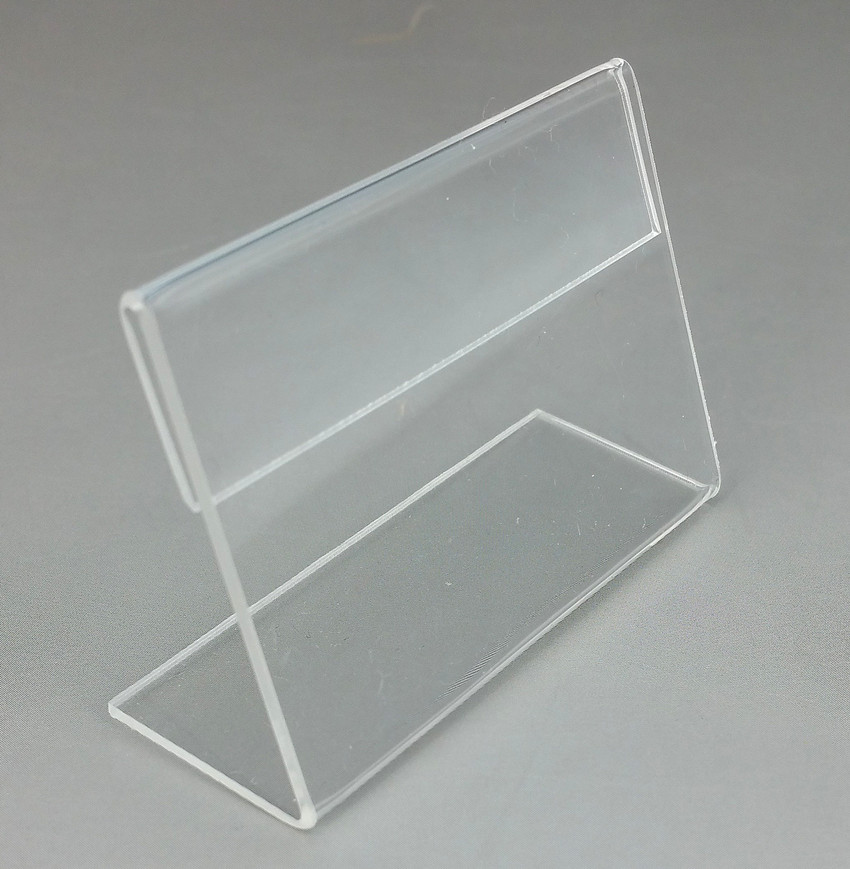 clear 6x4cm l shape pmma acrylic plastic table sign price tag label display paper promotion card holder stand 50pcs