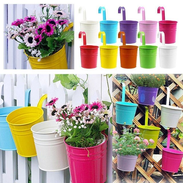 10 pcs 10 couleurs mode m tal fer pot de fleurs suspendus balcon jardin des plantes jardini re. Black Bedroom Furniture Sets. Home Design Ideas