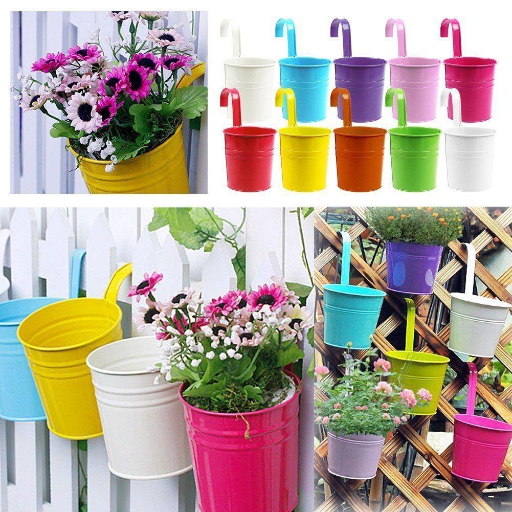 10pcs 10 Colors Fashion Metal Iron Flower Pot Hanging Balcony Garden