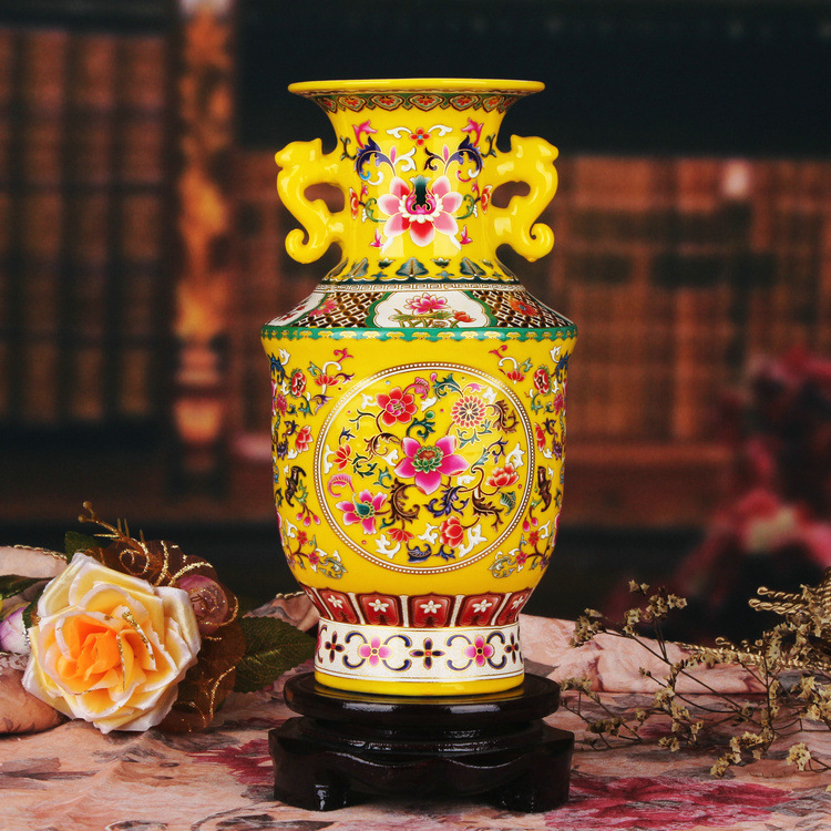 Jingdezhen ceramic vase yellow enamel vase modern decoration Home Furnishing Jinzhong binaural display