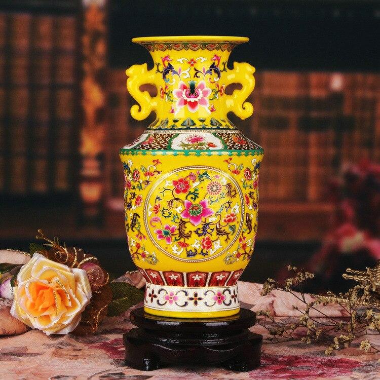Jingdezhen vaso di ceramica giallo smalto vaso moderno decorazione della casa arredamento jinzhong binaurale displayJingdezhen vaso di ceramica giallo smalto vaso moderno decorazione della casa arredamento jinzhong binaurale display