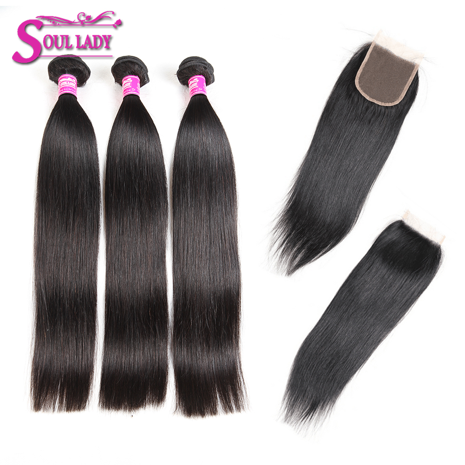 Buy 3bundles Get 1Free Closure Peruvian Hair Bundles With Closure Straight Human Hair 3Bundles With Closure Remy Hair Extensions