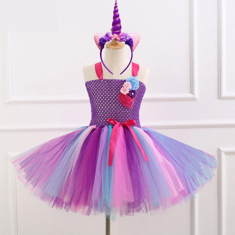Girls Unicorn Tutu Dress Rainbow Princess Free Headwear+ Kids Party Dress Girls Christmas Halloween Pony Cosplay Costume 1-12