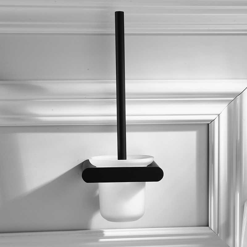 Łazienka akcesoria sprzętowe czarny matowy półka szklana uchwyt na szczotkę do wc wieszak ścienny ze stali nierdzewnej do przechowywania w domu zestaw stelażowy