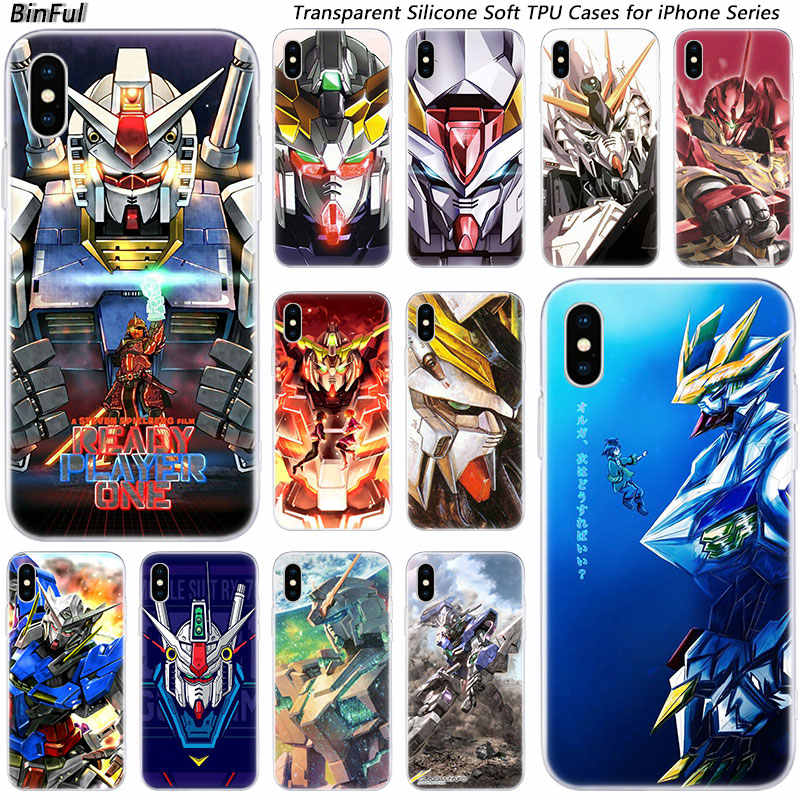 Hot Gundam Anime Soft Silicone Fashion Transparent Case for Apple iPhone X XR XS XI MAX XIR 7 8 Plus 6 6s Plus 5 5C 5S SE Cover