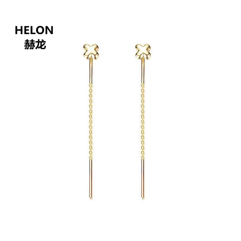 Solid 18k Yellow Gold Women Drop Earrings Engagement Wedding Earrings Fine Jewelry