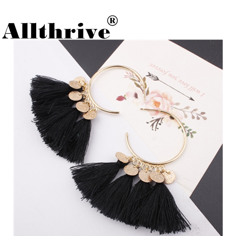 New Fashion Geometric Round Tassel Earrings Summer Jewelry Ethnic Alloy Bohemian Long Dangles Drop Earrings for Women Femme Kupe