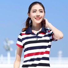 ladies polo shirt Summer women new collar short sleeve shirt female cotton compassionate shirts women Striped lapel T018