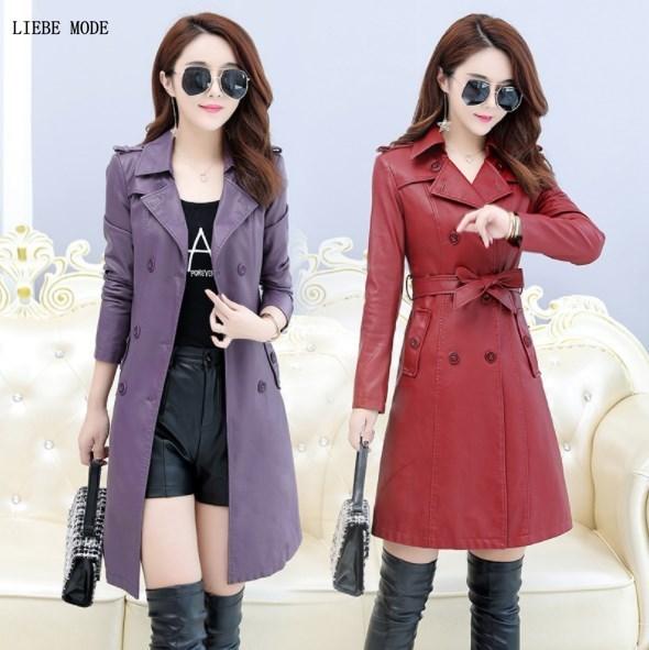 Women Pu   Leather   Long Trench Coat Female Overcoat Spring Autumn Long Sleeve Double-breasted Pu Coat Ladies Plus Size Windbreaker