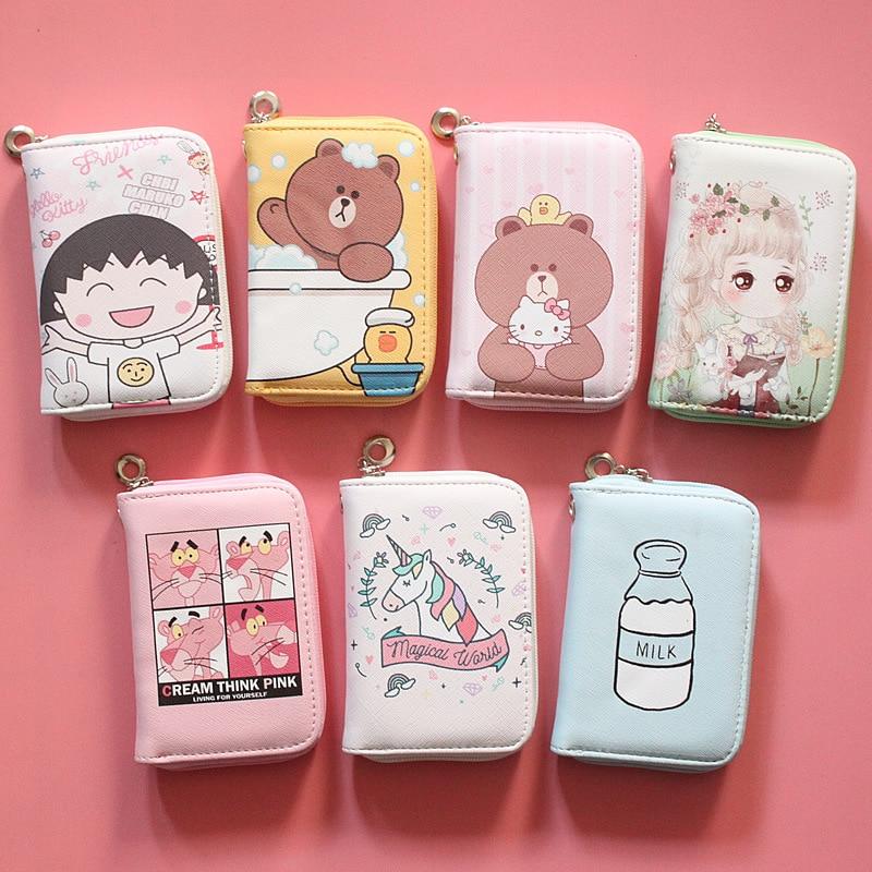 Cartoon Anime Medium Zipper Print Wallet Korean Student Girl  Wallet Baby Girl Purse Kawaii Wallet