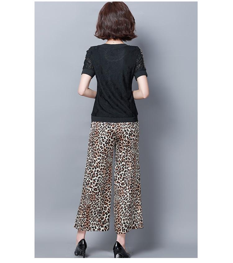 Summer Black Two Piece Sets Women Plus Size Short Sleeve Lace Tops And Leopard Print Wide Leg Pants Suits Casual Office M-5xl 31