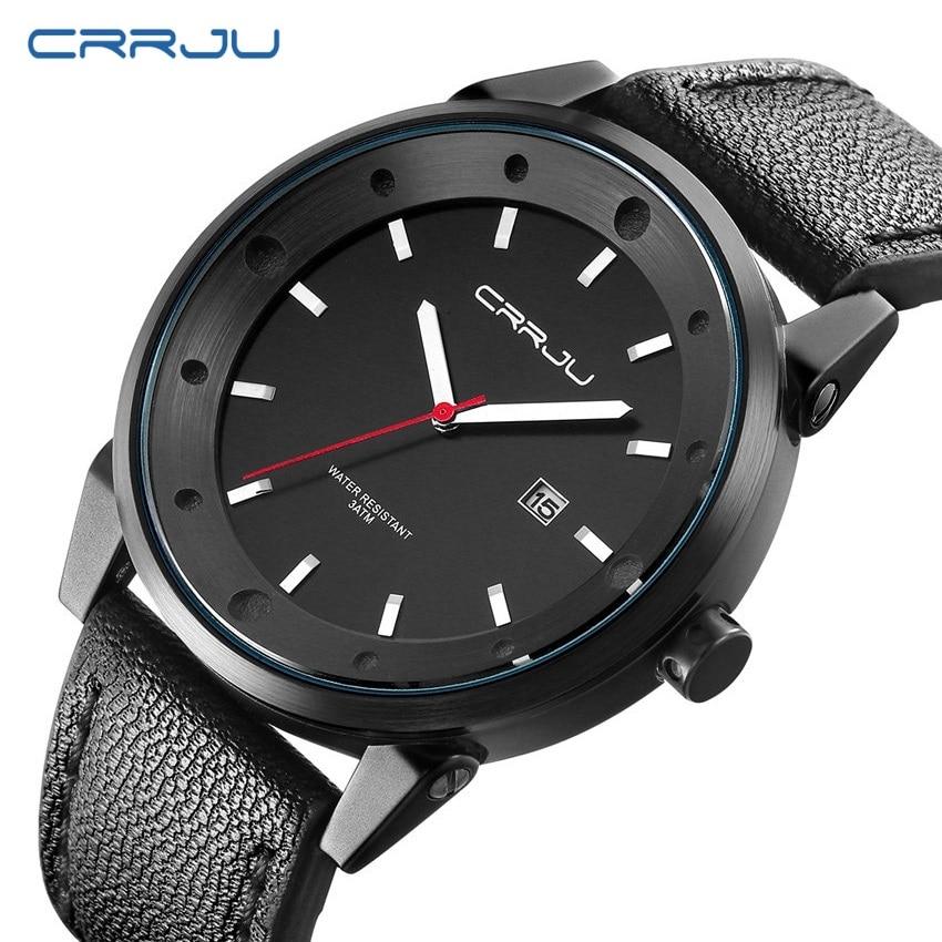 New Top Brand Luxury Waterproof Quartz watch men Business Casual Black Japan Quartz-watch Genuine Leather Big Dial Clock Male