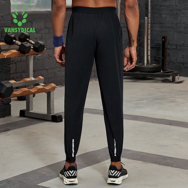 Vansydical Mens Reflective Workout Pants Running Leggings Loose Breathable Basketball Training Pants Fitness Jogger Sweatpants 3