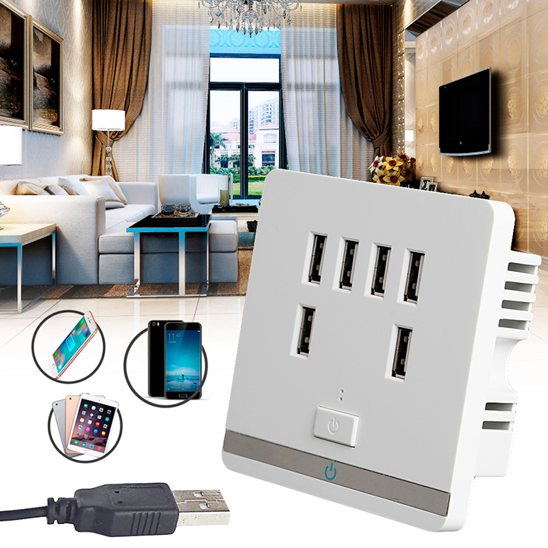 3.4A 6 Port USB Wall Charger Outlet Power Receptacle Socket Plate Panel Switch 1 pc 120x70x40mm dual usb port wall socket charger ac power receptacle outlet plate panel station vbu78 t50