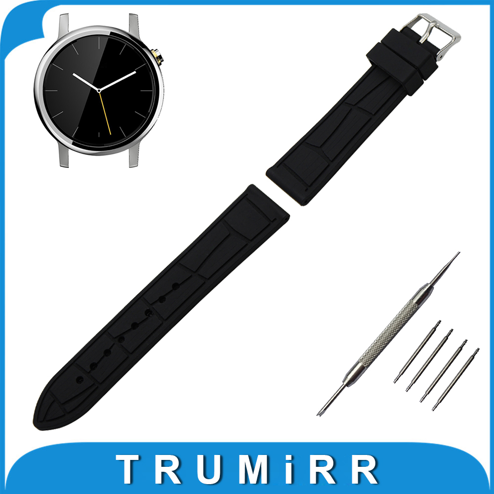 20mm Silicone Rubber Watch Band + Tool for Motorola Moto 360 2 42mm Men Replacement Watchband Strap Wrist Belt Bracelet Black 26mm silicone rubber watch band tool for garmin fenix 3 hr 5x replacement watchband steel buckle strap wrist belt bracelet