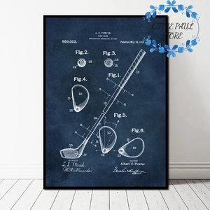 Гольф клуб и мяч патент Blueprint Искусство ретро Винтаж Ретро Искусство Холст плакат Настенная картина для гостиной без рамки