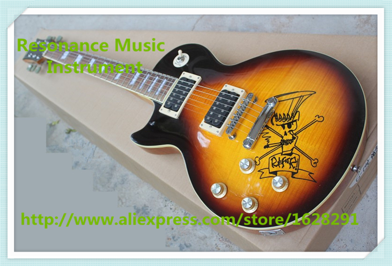High Quality Vintage Sunburst Finish Left Handed Slash Electric LP Standard Electric Guitars For Sale