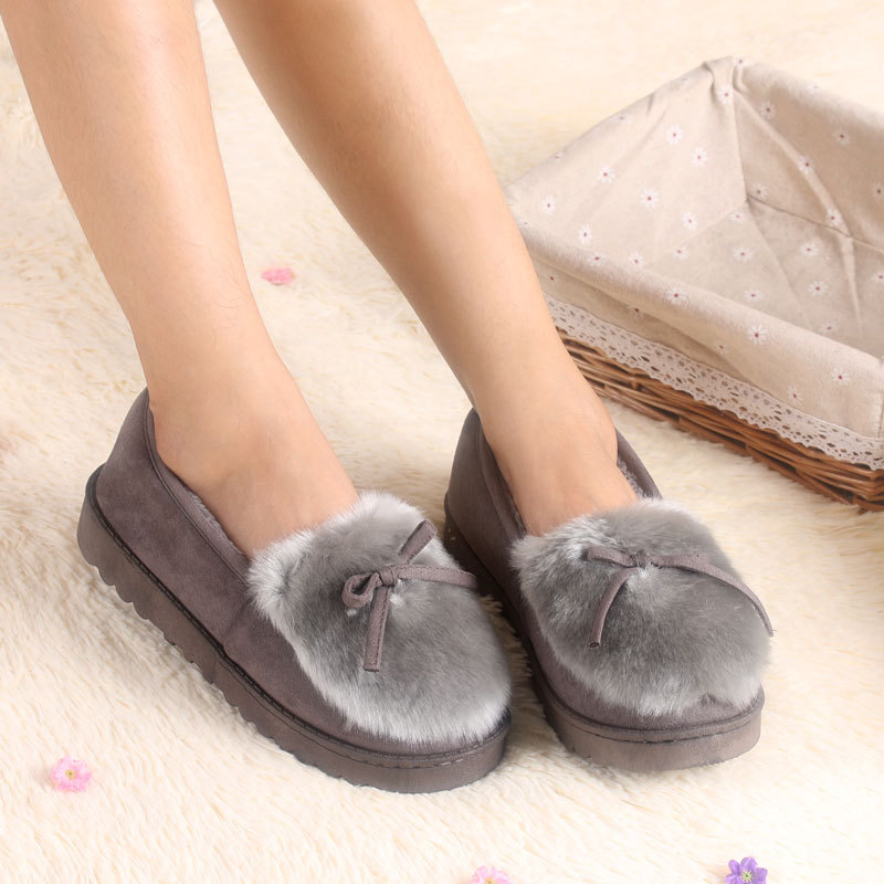 Lovely Ladies Home Floor Soft Women indoor Slippers Outsole Cotton-Padded Shoes Female Cashmere winter Warm Casual Shoes A16W cotton padded cashmere 2017 new floor retail hotel women indoor slippers for men home shoe floor soft indoor warm plush slipper