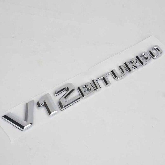 US $3 32 29% OFF|Car styling ABS V12 BITURBO Car Side Emblem Badge Sticker  Decal For Mercedes Benz Trunk Rear Decal A B C SL SLK Class CLA GLA-in Car