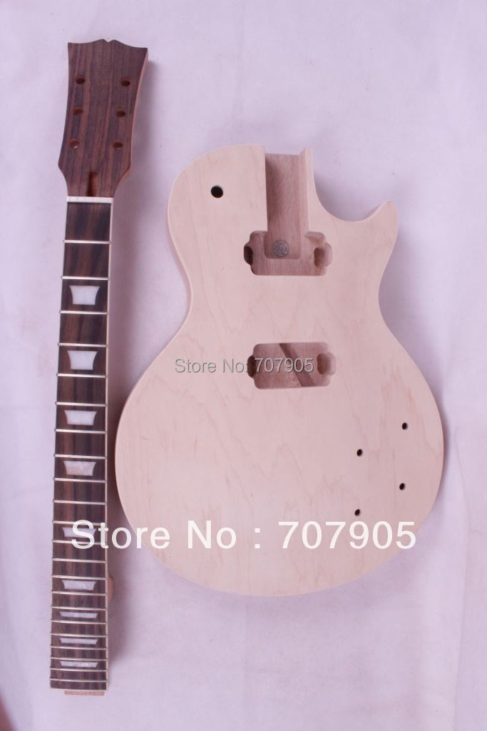 New 1x Unfinished electric guitar neck set in&1x Body Mahogany Maple Veneer wholesale g lp custom electric guitar mahogany body maple neck in natural wooden 100807
