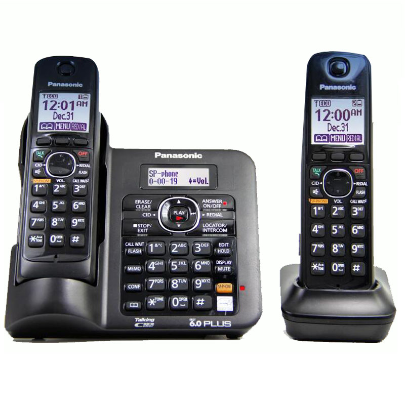 2 Handsets KX-TG6641 series DECT 6.0 Digital wireless phone Black Cordless Phone with Answering system 2 handsets kx tg4021 digital cordless phone with answering system dect 6 0 silver