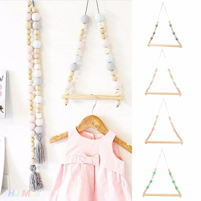 Nordic Style Wooden Clothes Rack Kids Room Wall Hanger Home Decor Wardrobe Single Pole