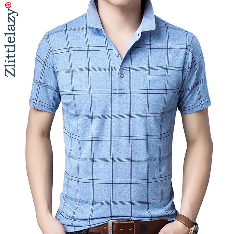 2019 brand casual pocket summer plaid short sleeve   polo   shirt men poloshirt jersey mens   polos   tee shirts dress fashions 50516