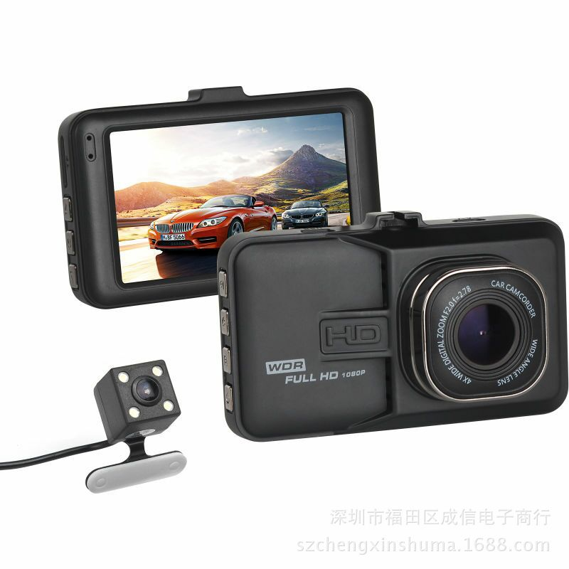 2018 Auto 3 Inch Dual Lens Video Recorder 120 Degree Wide Angle Vehicle Camcorder Night Vision Led Display 1080p Car DVR Camera