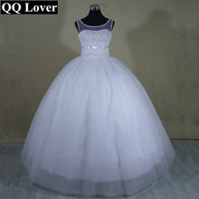 QQ Lover 2017 New Elegant Pearls Beaded Ball Gown Wedding dress Bridal Gown Custom made Plus Size Vestido De Noiva