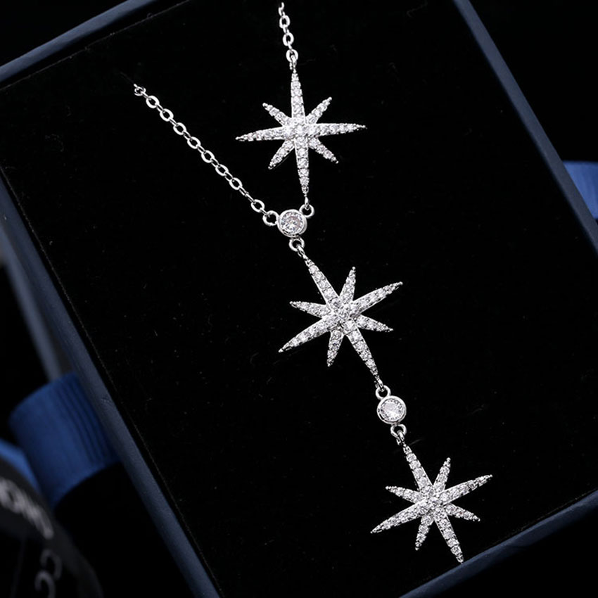 Godki Star Fireworks Fashion Star Aaa Cubic Zircon Trendy Geometric Adjustable Length Wedding Necklace To Ensure Smooth Transmission