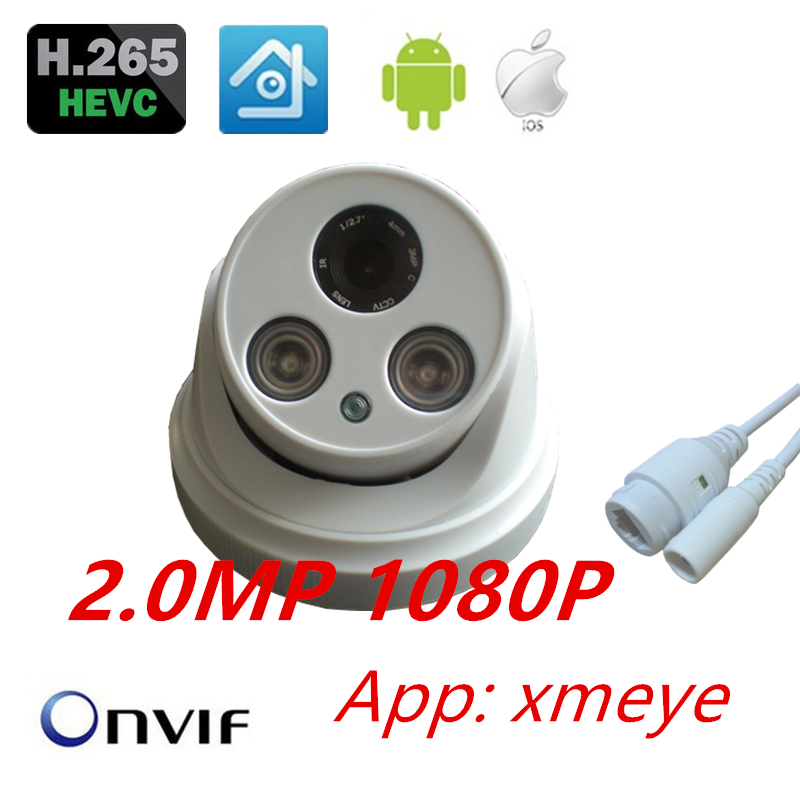 Indoor HD 1080P h265 onvif Array IR Night Vision ABS dome XMEYE IP Camera CCTV IPC CAM 2MP Security ONVIF ipc hd 720p 1 0mp bullet ip camera onvif outdoor ir night vision h 265 2mp 1080p cctv security camera android iphone xmeye unitoptek