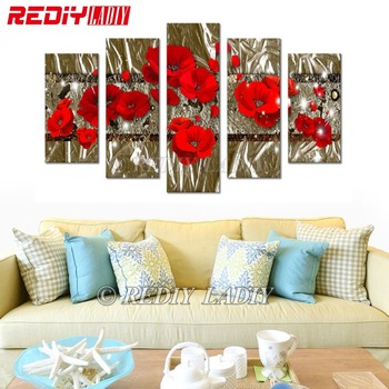 Diamond Painting Triptych Red Poppies 5D Diamond Embroidery Multi Pictures Rhinestones Cross Stitch Modular Wall Arts Home Decor