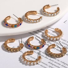 Summer Rainbow Colorful Crystal Mini Hoop Earrings Women Fashion Jewelry Small Hoops