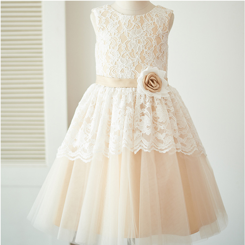 все цены на 2018 Sleeveless A-Line Lace Flower Girl Dresses Princess Tulle Mother Daughter Dresse For Girl Party Champagne Communion Dresses онлайн