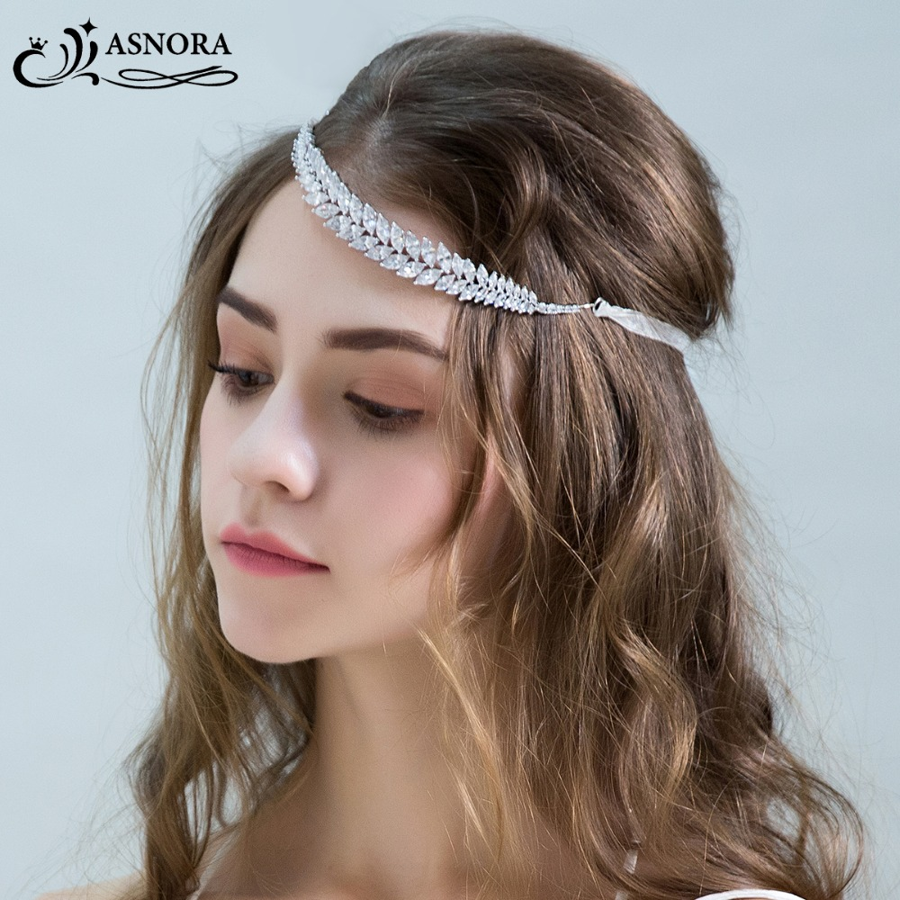 ASNORA Crystals Headbands Hair-Accessories Wedding Zircon Brides Elegant for Shiny Simple