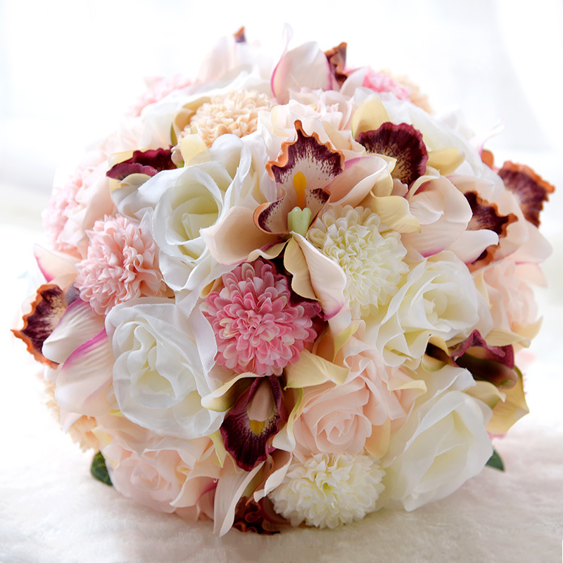 Coral And Pink Wedding Flowers: MissRDress Silk Wedding Bouquet Artificial Bridal Bouquet