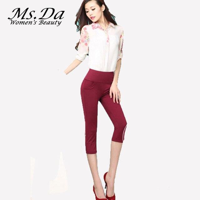 Plus Size Pants 2016 New Summer Capris Strechy Women Leggings Trousers High Waist Casual Skinny Panty leggins S~3XL,4XL,5XL,6XL