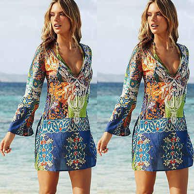 7da4465de6342 sexy Women Long Sleeve Beach Skirt cover up Beachwear Swimwear Beach Wear  Kaftan Ladies Summer bathing