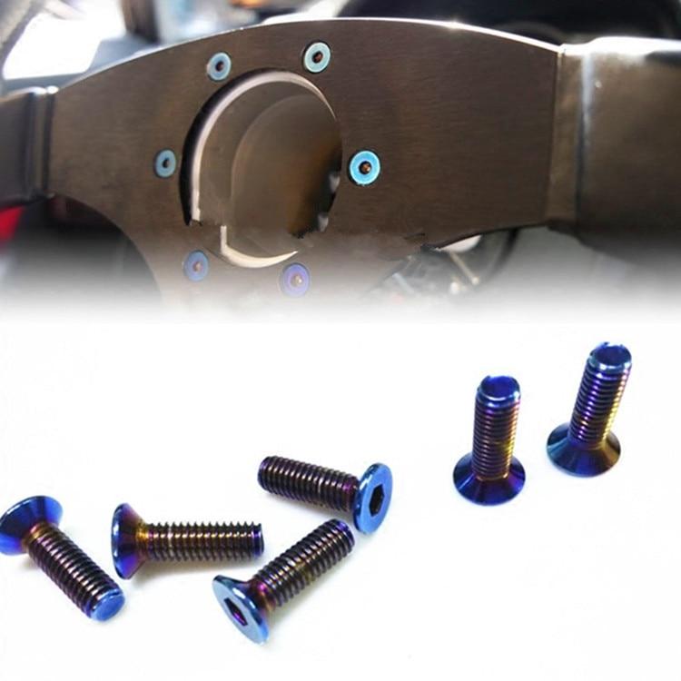 Screw for Racing Car Steering Wheel Blue Color Bolts M6 x21mm Steering Wheel Bolt for 13/14 Inch Steering Wheel Universal Screw alu alloy turnplate for wheel aligner steering turntable
