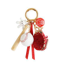 Baseball Key Chain Keychain Ring Fashion Bat Glove Jewelry For Sport Lovers Car Bag Charm Pendant Gift
