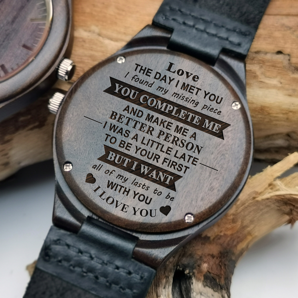 To My Love-The Day I Meet You I Found My Missing Piece Engraving Wooden Watch Luxury Automatic Quartz Watches Holiday GiftsTo My Love-The Day I Meet You I Found My Missing Piece Engraving Wooden Watch Luxury Automatic Quartz Watches Holiday Gifts