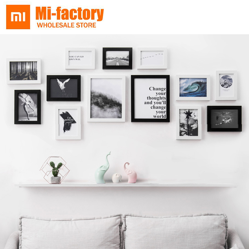 New Xiaomi 13 pcs/set Black White Vintage Photo Frame Wall,Family Wooden Picture Frame Sets,Square Picture Frames For Paintings цена 2017