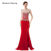 Luxury Sexy Split See Through Red Mermaid Beaded Evening Dresses 2017 with Rhinestone Women Night Party Prom Gown robe de soiree