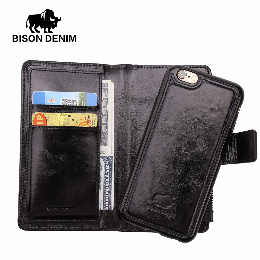 BISON DENIM Genuine Leather iPhone Wallet Case Card Holder Iphone 6 7 plus Leather Cover Flip Wallet with Coin Pocket W9367 спот brilliant sofia 55310 18