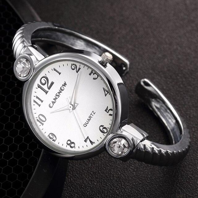 Luxury Silver Gold Bracelet Watch Women Dress Watch Rhinestone Quartz Bangle Bra