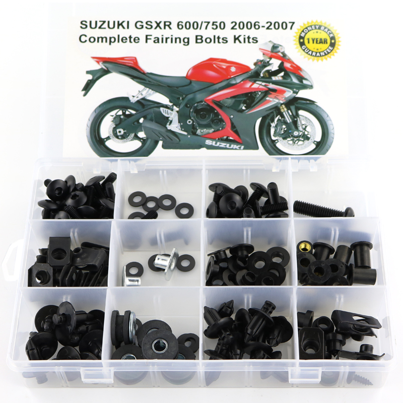 Для Suzuki GSXR600 GSXR750 GSX-R600 750 GSXR 600 750 2006 2007 Полный Комплект болтов обтекателей зажимы винты стали - Цвет: Black