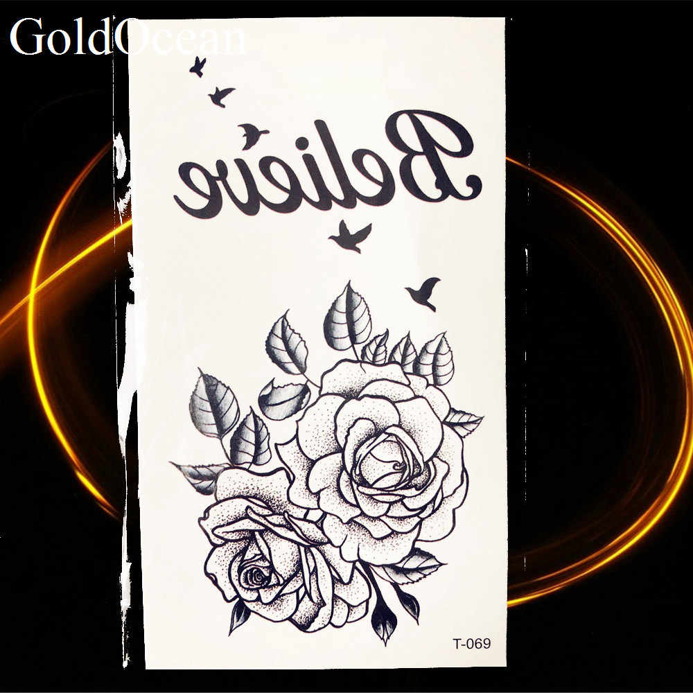"Black Flower Rose ""Believe"" Temporary Tattoo Sticker Flying Birds Girls Chest Party Arm Sexy Tattoo Decal Women Waterproof Tatto"