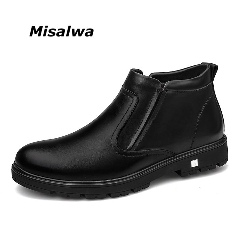 Misalwa 2018 Automne Hiver Hommes Bottes de Neige En Peluche Doublure Chaude Cadeau de Père Chaussures Élastique Slip-sur Zipper Hommes bottes En Cuir décontractée